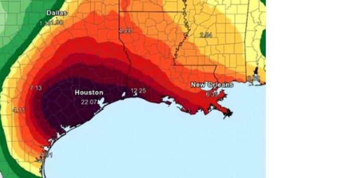 A weather map of Houston, Texas displaying projected rain fall during Hurricane Harvey