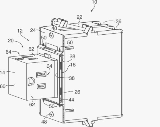 A patent diagram, showcasing the the Pop-Out's ability to fit within a traditional electrical box
