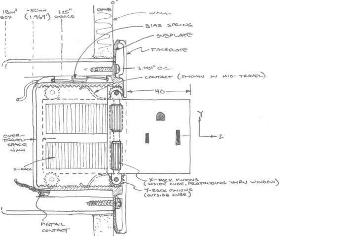 A detailed drawing of the inner workings and components of the Pop-Out