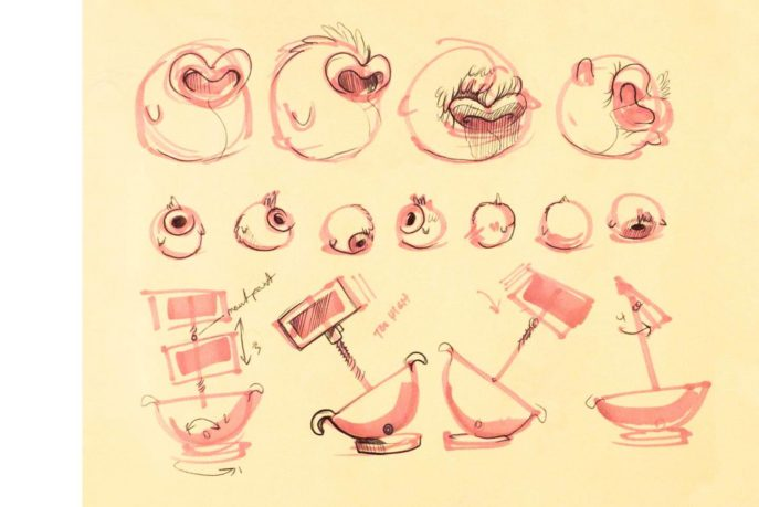 a page of Tega sketches, detailing various styles and positions of the device