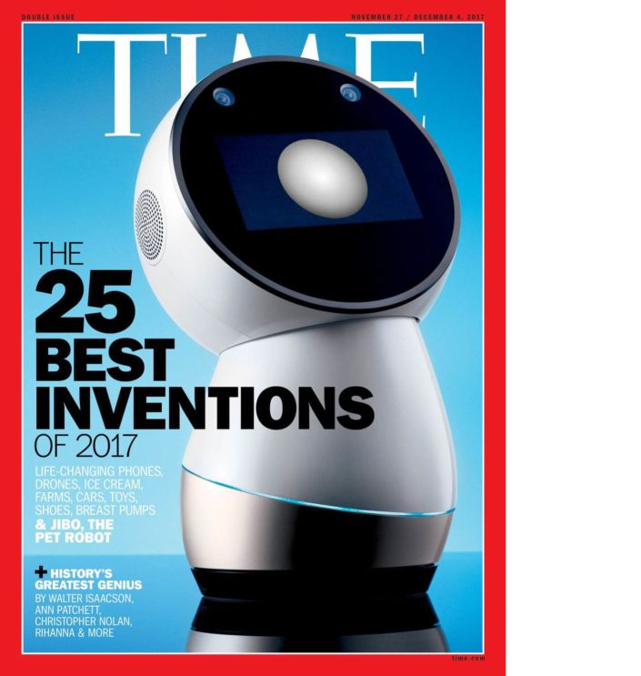 "Front cover of TIME magazine showcasing the Jibo, with the headline ""25 Best Inventions of 2017"""